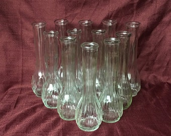WEDDING   Bud Vase Lot   Clear Glass   Ribbed   Twelve Pieces