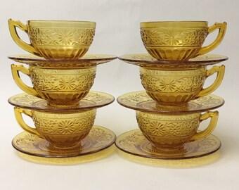 Sandwich Glass | Teacup and Saucer Sets | Amber | 12 Piece Set | Six Settings