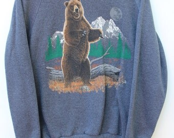 80s Vintage Grizzly Bear Graphic Sweatshirt / Men's LARGE L /  Crewneck Sweatshirts / Free Shipping!