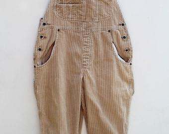 90s Chunky Corduroy Overalls / Women's MEDIUM M / Arizona Jean Co. / Khaki - Beige / Free Shipping