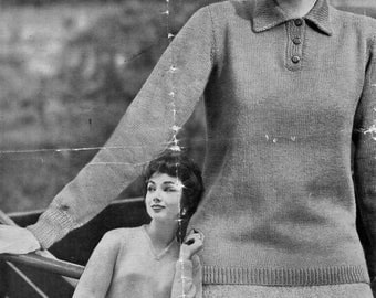 """Vintage 4ply womens polo shirt sweater knitting pattern PDF ladies v neck jumper collar sweater 34-38"""" 4 ply pdf instant download"""