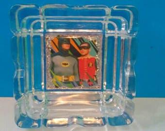 Batman And Robin Glass Ashtray, Ashtray, Super Hero Ashtray, Smoke Accessory, Batman, Robin, Glass Ashtray, Made By Mod.