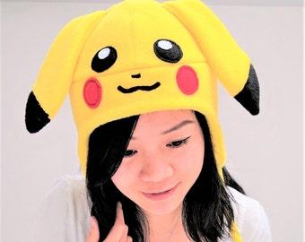 Pikachu Hat - Pikachu Pokemon - Pikachu Cosplay Hat - Pikachu Pokemon Hat - Pokemon Hat - Pikachu Earflaps Hat - Pikachu Costume Hat