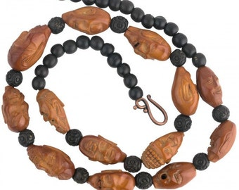 Vintage Chinese carved olive pit Hedaio bead necklace, Lohan Arhat heads. nlwd107