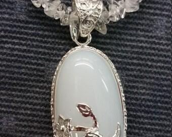 Moonstone and Quartz Necklace & Earring Set