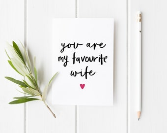 Favourite Wife Card, Funny Anniversary Card, You Are My Favorite Wife Card, You're My Favorite Wife, Anniversary Card Wife, Funny Wife Card