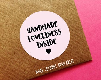 Handmade Sticker, Made With Love Label, Handmade Loveliness Inside, Made With Love Sticker, Happy Mail Sticker, Pretty Packaging Stickers