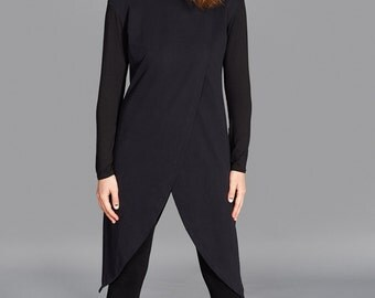 Black Asymmetric Blouse, Maxi Tunic, Long Top, Futuristic Clothing, Winter Top, Long Sleeved Tunic, Fashion Top, Trendy Blouse, Formal Top