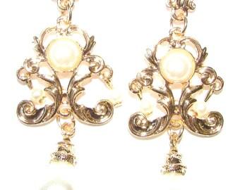 Art Deco Nouveau Gold Ivory White Pearl Chandelier Earrings Drop Stud 1920s 1130
