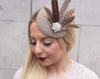 Beige Light Brown Ivory Pheasant Feather Pillbox Hat Fascinator Hair Clip 2602