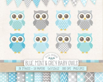 Baby Owl Clip Art for Nursery, Baby Shower. Baby Boy Digital Paper. Banners in Blue, Gray, Mint. Pastel Chevron, Polka Dot, Heart Patterns