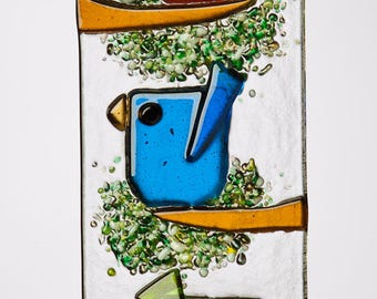 Trio of Whimsical Birds in Fused Glass~ Orange, Blue & Green