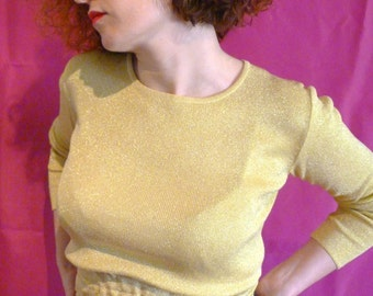Yellow upcycled vintage top 90s