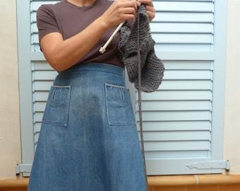 midi vintage 70s pockets denim skirt