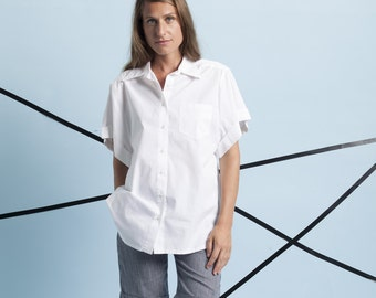 White shirt, classic white shirt, white shirt, women white top, women white top, women button up shirt, cotton shirt by Meanwhile.