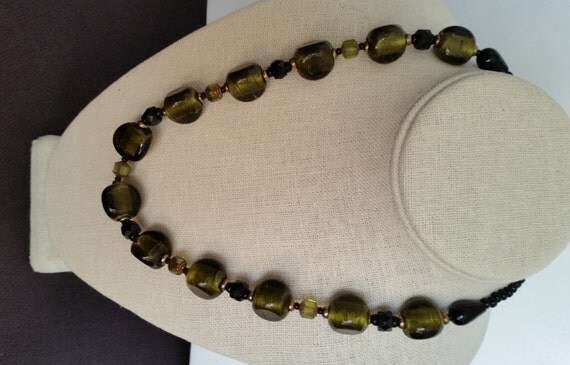 CHUNKY OLIVE SILVERFOIL Bead Necklace. Peridot-Green-Colored with Czech Crystal and Seed Beads. Copper Clasp. Short 20 Inch Length.