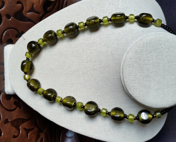 OLIVE & LIME GREEN Silverfoil Glass Bead Short Necklace. 21 Inch Length. Copper Clasp. Chunky, Pressed Glass, Crow Beads..