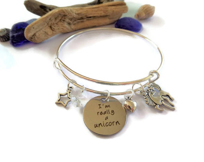 I'm really a unicorn 65mm expandable silver bangle fan gift jewellery UK