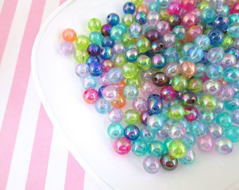 50 Iridescent Round Beads Fairy Kei Beads 8mm Beads #1028