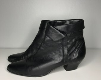 vintage Hunt Club black leather ankle boots size 8-1/2