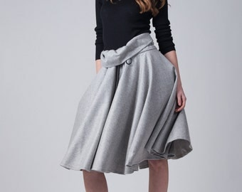Gray winter wool skirt / High waist full circle skirt / Woman's knee skirt / Unusual design vintage inspired skirt / Fasada 16143