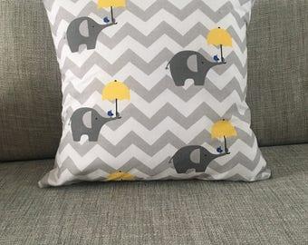 Fabric Elephant Cushion - Light Grey & Yellow - Chevron - Bluebird - Umbrella - Retro