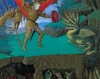 """Jean Fouquest """"St Michael Slaying the Dragon"""" 1500's Reproduction Digital Print Archangel Michael Archangels Hell"""
