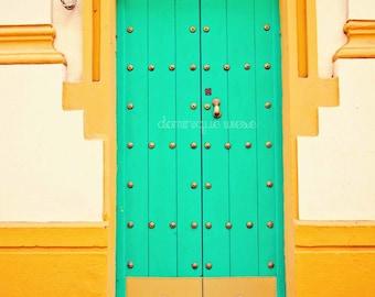 Old Door Photo Blue Door Photograph Instant Download Turquoise Door Seville  Spain Photography Travel Photo European