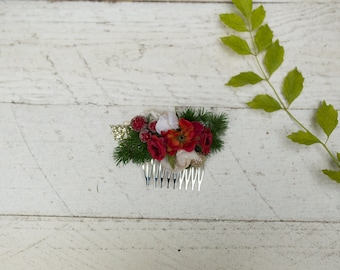 Flower hair comb Red and gold hair comb Christmas hair comb Hair accessories