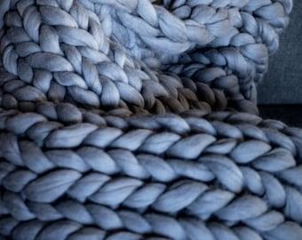 Super Chunky Blanket,  21 Micron Merino Wool Super Chunky Knit Blanket Giant 64 x 80