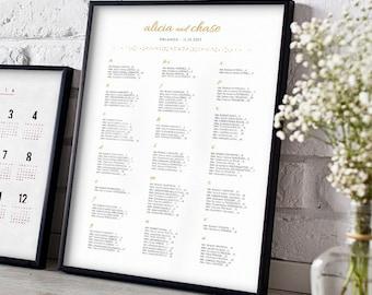 Table alphabétique sièges plan les modèles imprimables, portrait 24 x 18 et A2 taille mariage mariage Seating Charts, or, Orlando