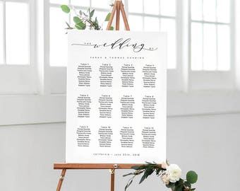 Portrait wedding seating chart printable wedding seating chart poster template DIY. 'wedding'. A2 or 18x24 size | DIY | Word or Pages