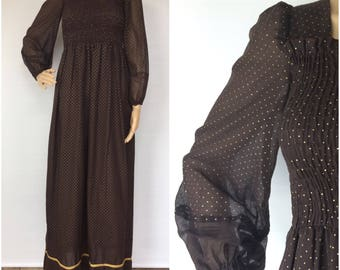 Peggy Barker Vintage Brown/Gold Maxi Dress - 1970s - Small/Medium