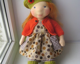 "Waldorf doll 17"", waldorf fabric doll, steiner doll, cloth doll, gift for girl, organic doll, waldorf toy"