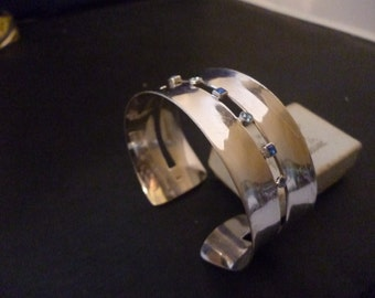"""Stunning sterling silver and blue Sapphire cuff - Bangle - 925 - Blue - Unique - 2.6"""" x 2.5"""""""