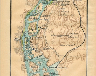 1907 Aswan Egypt Antique Map