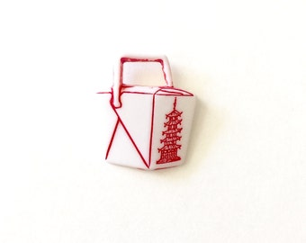Chinese Take Out Pin, Chinese Food Box, Tie Tack, Mini Food, Kawaii Jewelry, Chinese Food Box, Container