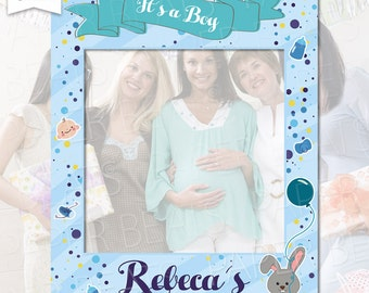 baby shower photo booth frame its a boy photo booth frame bunny photo booth prop mom to be photo booth frame digital file
