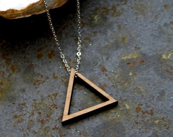 Triangle pendant, wooden long necklace, wood graphic collar, geometric minimal design, woman jewel, metal chain silver color, made in France