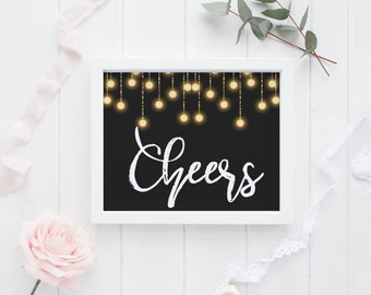 """PRINTABLE Art """"Cheers"""" Gold and Black Happy New Year Cheers Yall Cheers New Year Party Sign New Year Sign 2017 New year Cheers to 2017"""