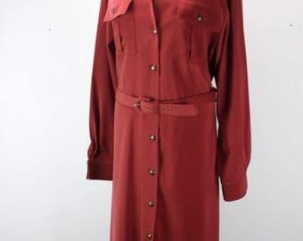 Vintage Women's Button Front Dress - Salmon - Full Length - Belt - Size 14 - L - 1970's - 1980's - Brownstone Studio - New York