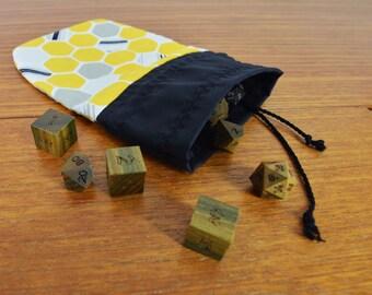 Honeybee Honeycomb Polyhedral Dice Bag, Trinket Bag - Gift for Gamer, Yellow Honey Bee, Geometric Pattern, Gray Yellow Black White Favor Bag