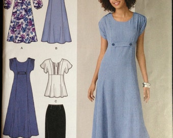 Simplicity 2249 - Dress or Tunic with Princess Seams and Gathered or Flutter Sleeve Option and Skirt - Size 10 12 14 16 18