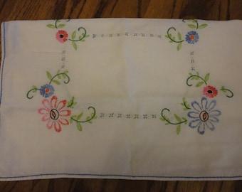 Linen embroidered dresser scarf
