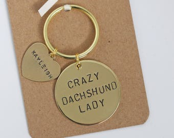 Crazy Dachshund Lady Hand stamped Keyring, Personalised with dogs name(s)