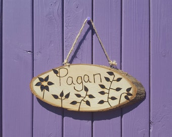 Pagan Sign, Pyrographed Writing, Pagan Home Decor, Wiccan Wall Hanging, Leaf Decor, Nature Door Hanger, Witch Altar, Wooden Plaque