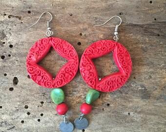 Red Resin Dangle Earrings