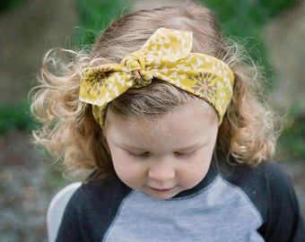 Mustard Floral Knot Headband