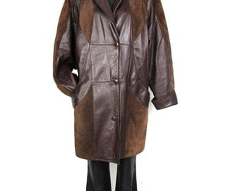 Vintag 1980's Warm Suede Leather Soft Brown Women's Slouch Jacket Coat  Hipster size L XL