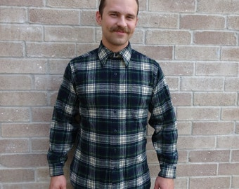 Vintage Green & Blue Plaid Country Traditional Pendleton Wool Men's Shirt